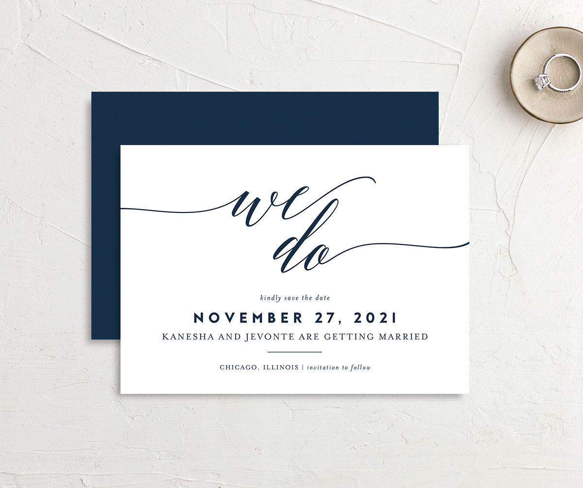 We Do Save the Date Card front and back blue