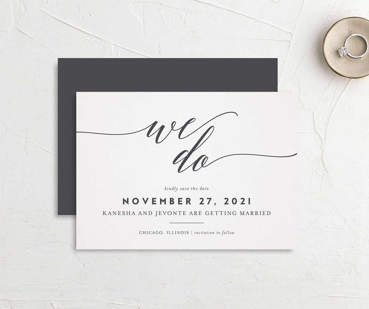 We Do Save the Date Card front and back grey