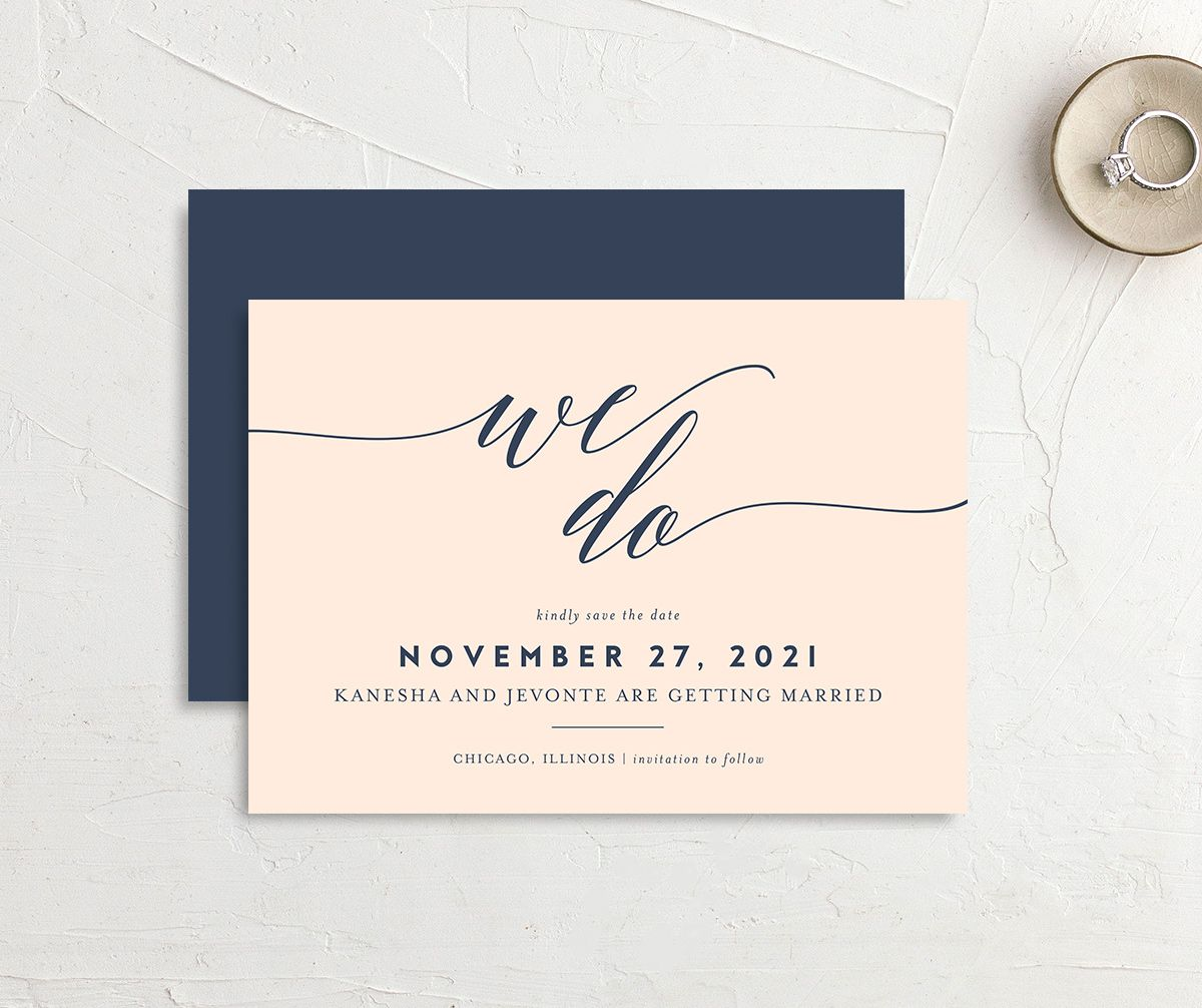 We Do Save the Date Card front and back pink
