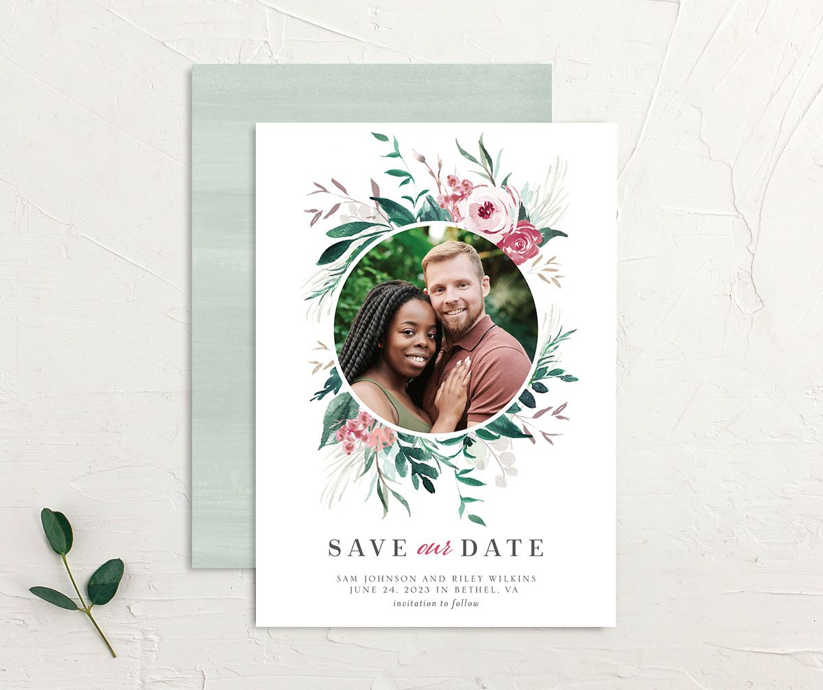 Wild Wreath Save the Date Card front and back green