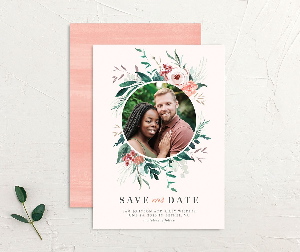 Wild Wreath Save the Date Card front and back pink