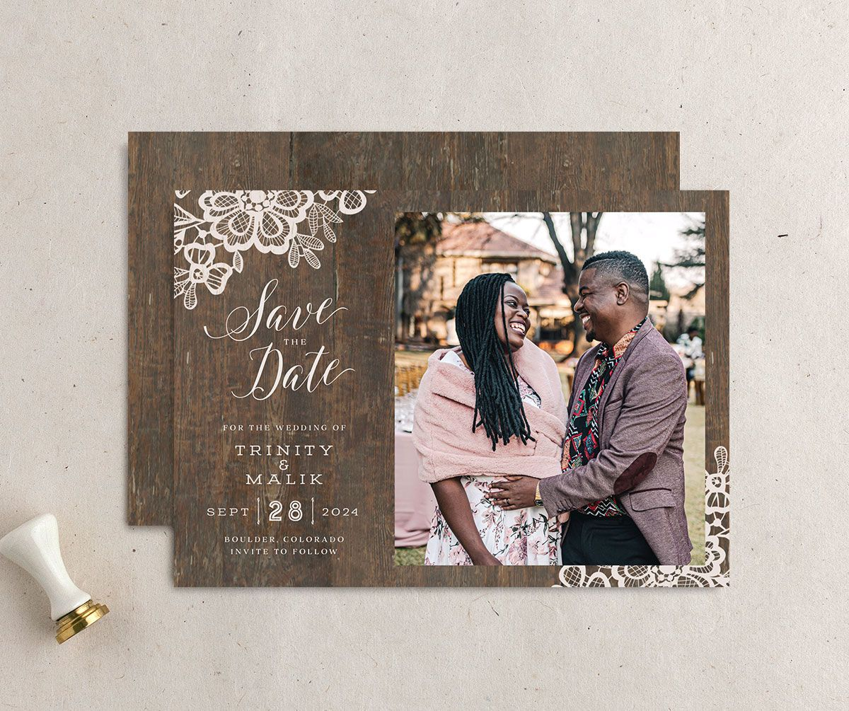 Wood and Lace Save the Date Card front and back