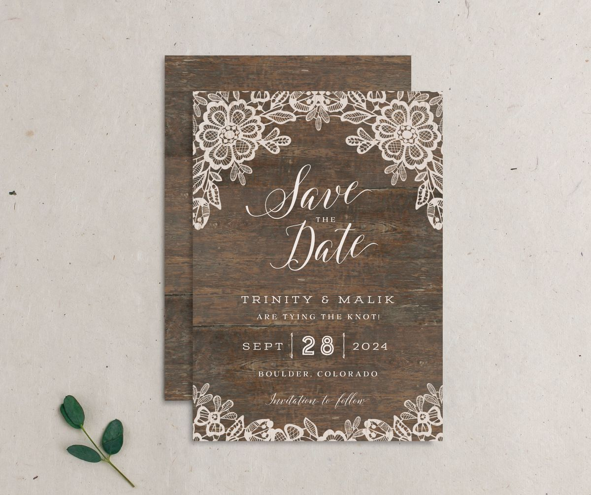 Woodgrain Lace Wedding Save the Date Card front and back