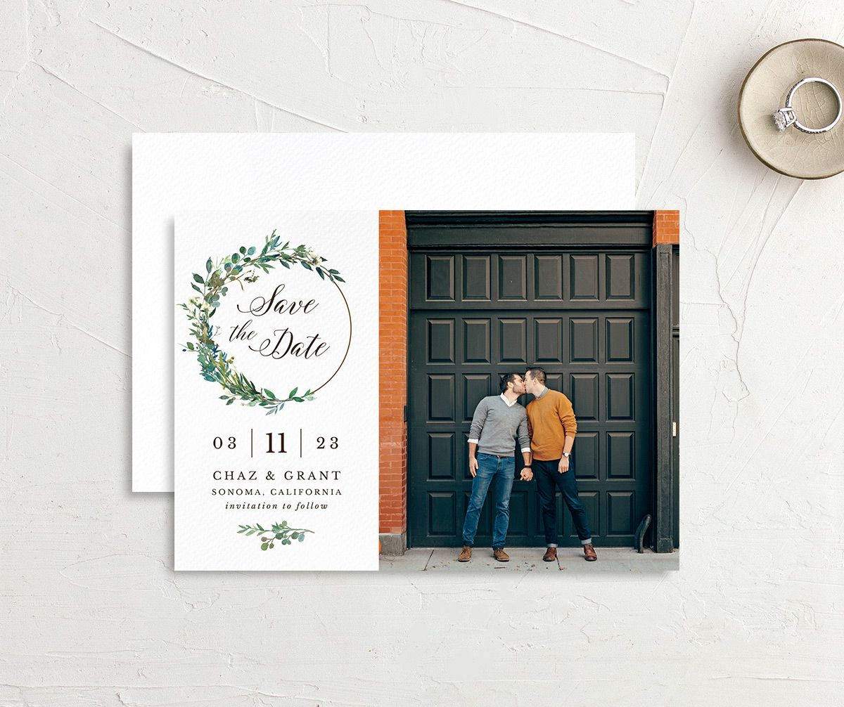 Greenery Hoop Save the Date Card front & back
