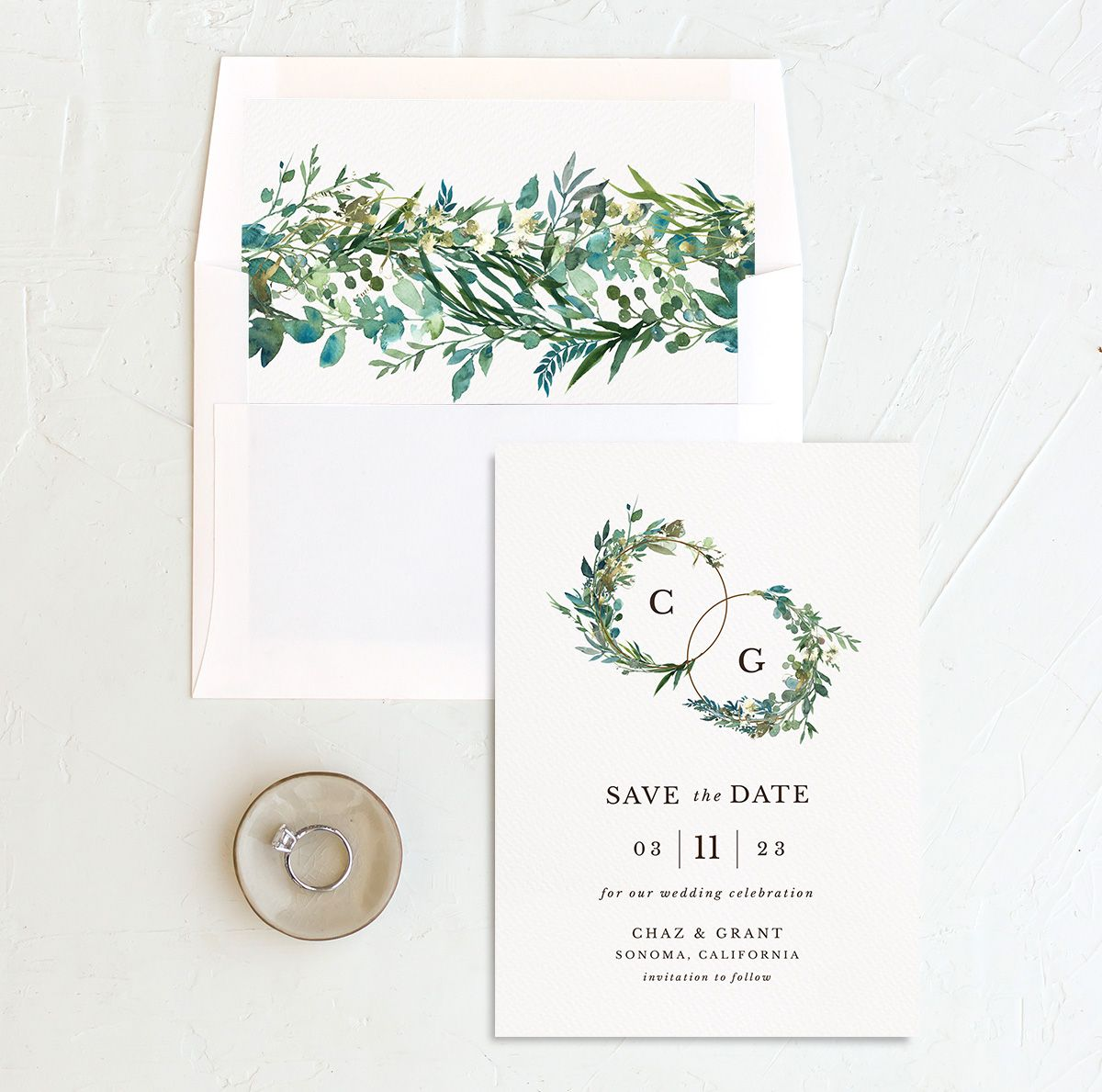 Leafy Hoops Save the Date Card with DIY liner
