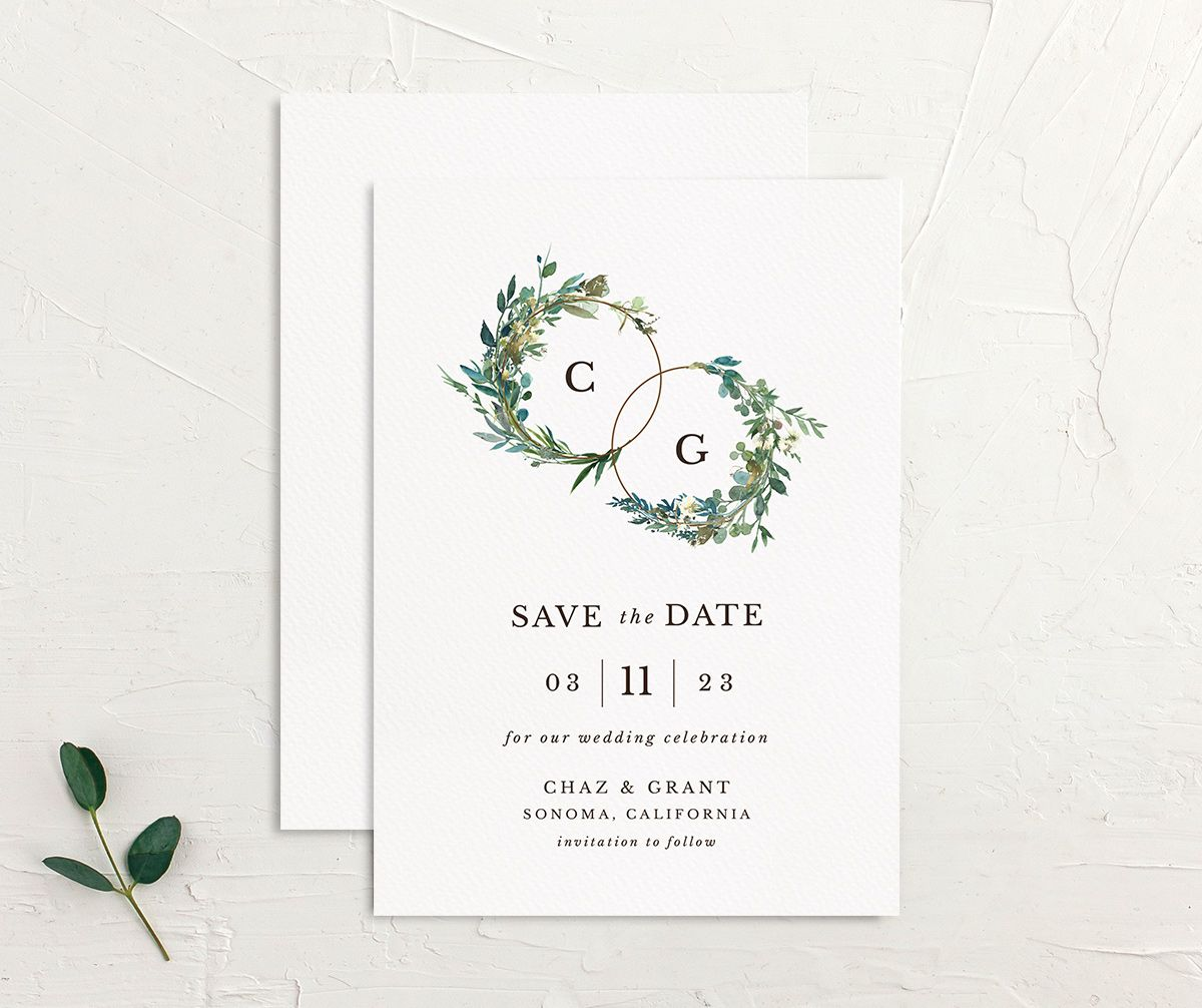 Leafy Hoops Save the Date Card front & back