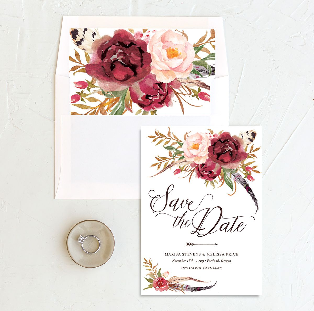 Bohemian Floral Save the Date Card and Envelope Liner burgundy