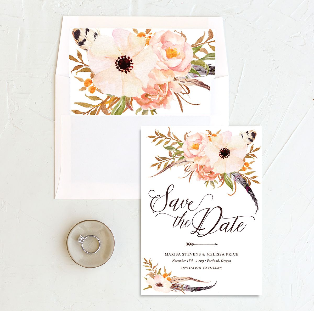 Bohemian Floral Save the Date Card and Envelope Liner peach