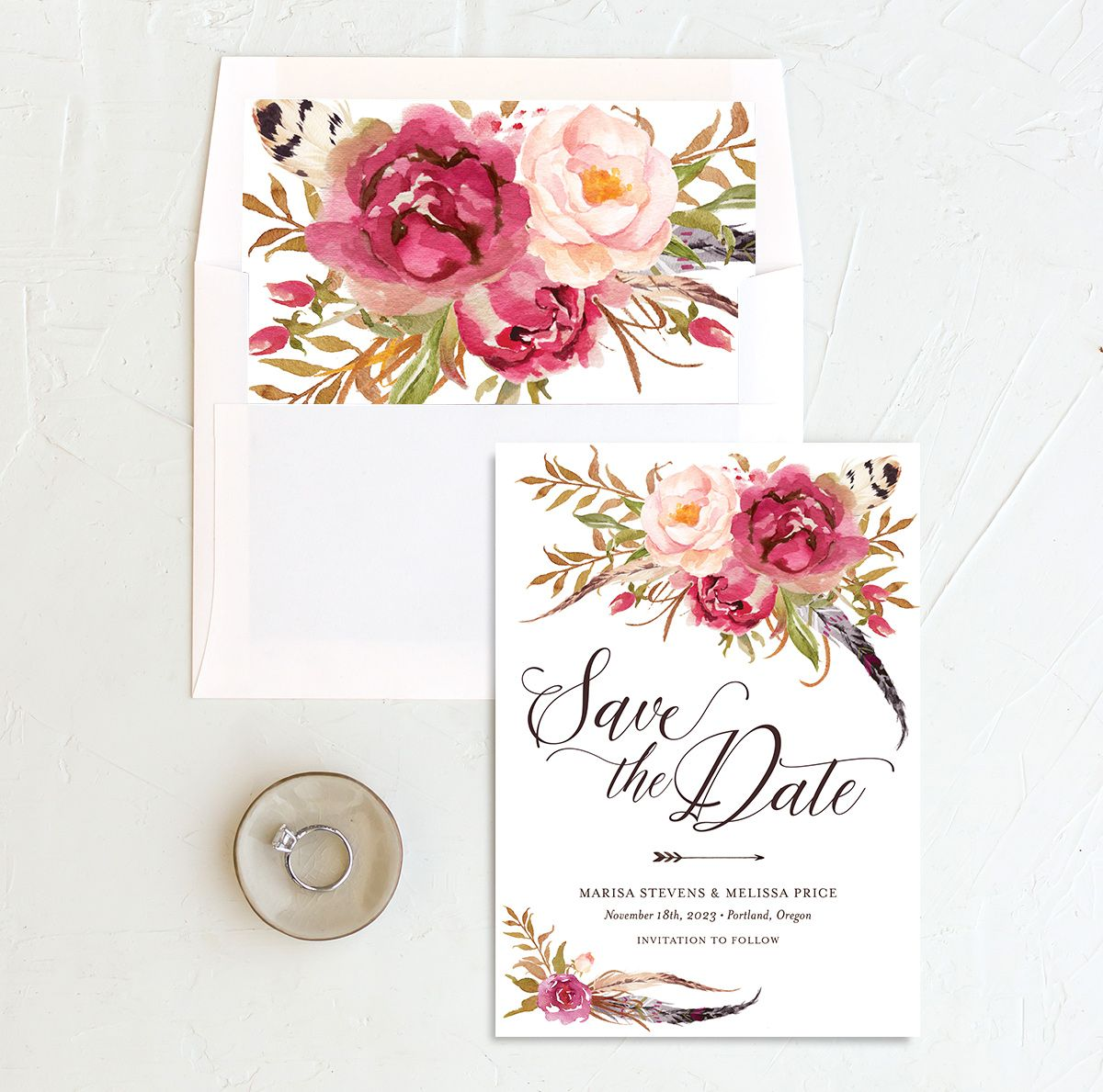 Bohemian Floral Save the Date Card and Envelope Liner pink