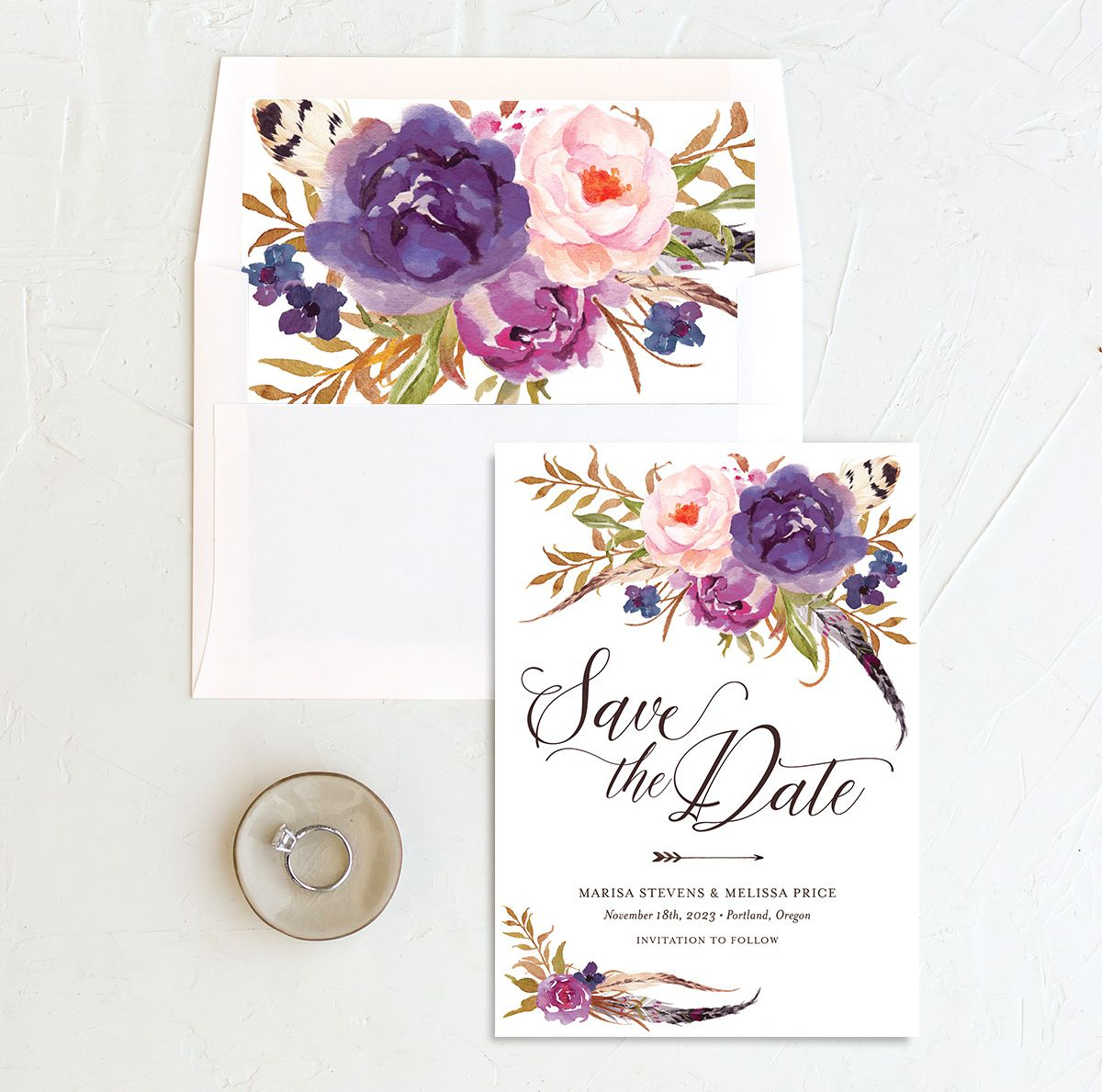 Bohemian Floral Save the Date Card and Envelope Liner purple