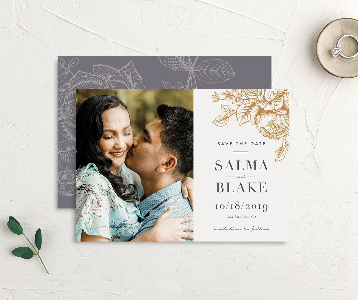 Etched Botanical Wedding Save the Date Card front and back