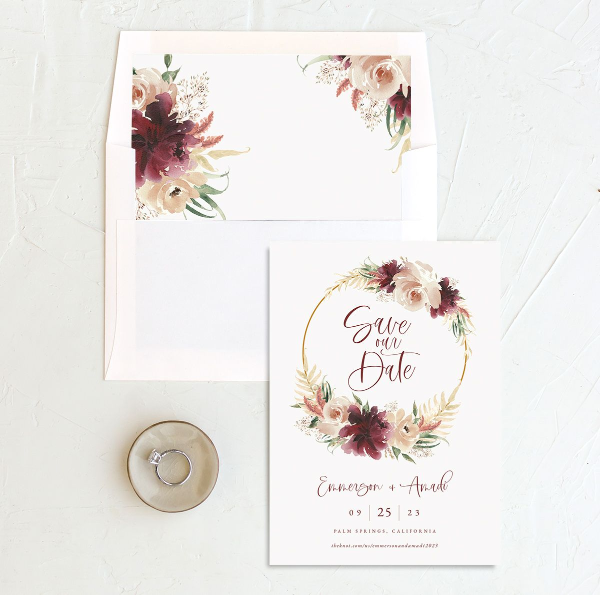 Floral Wreath save the date with liner