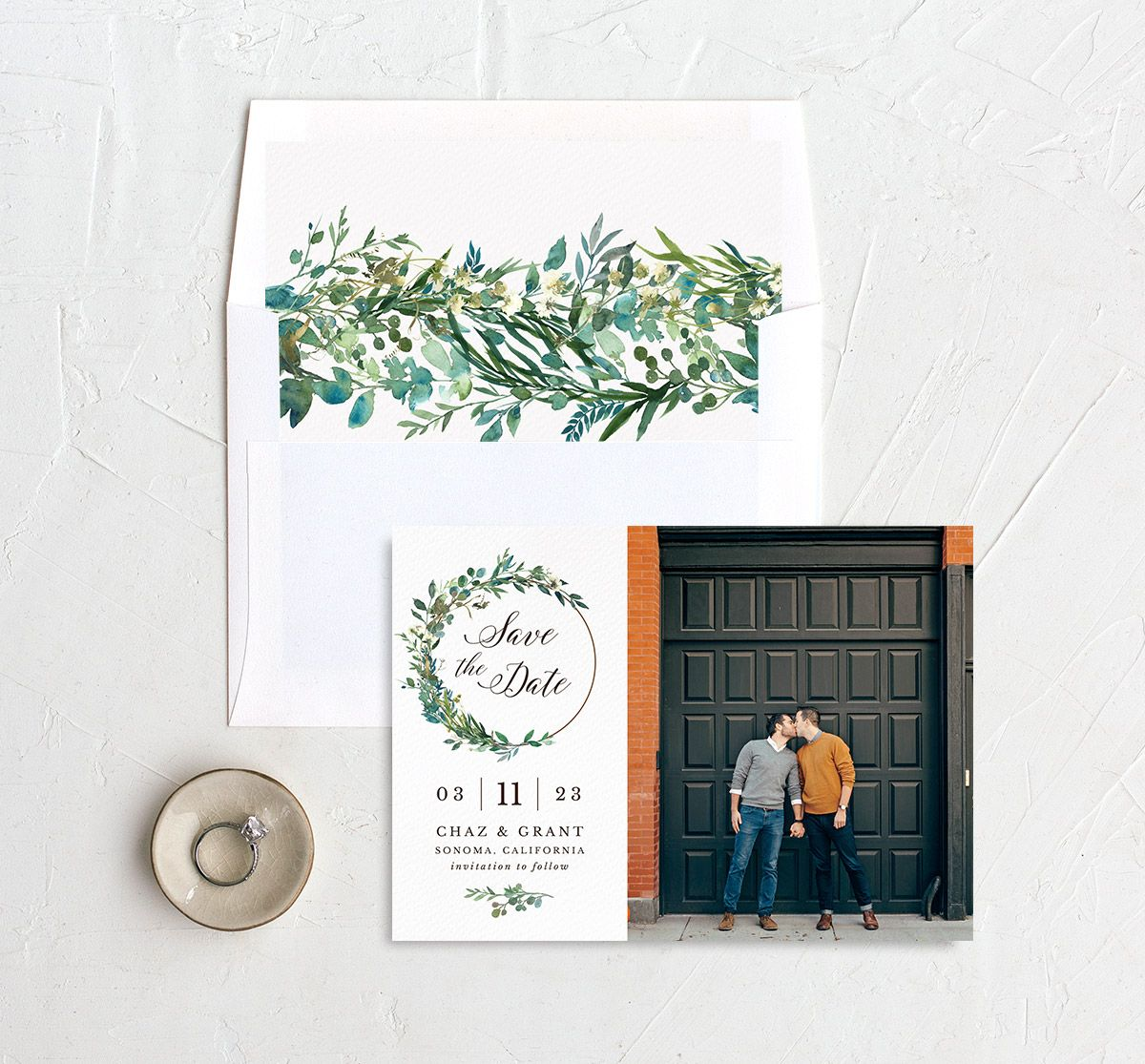 Greenery Hoop Save the Date Card with DIY liner