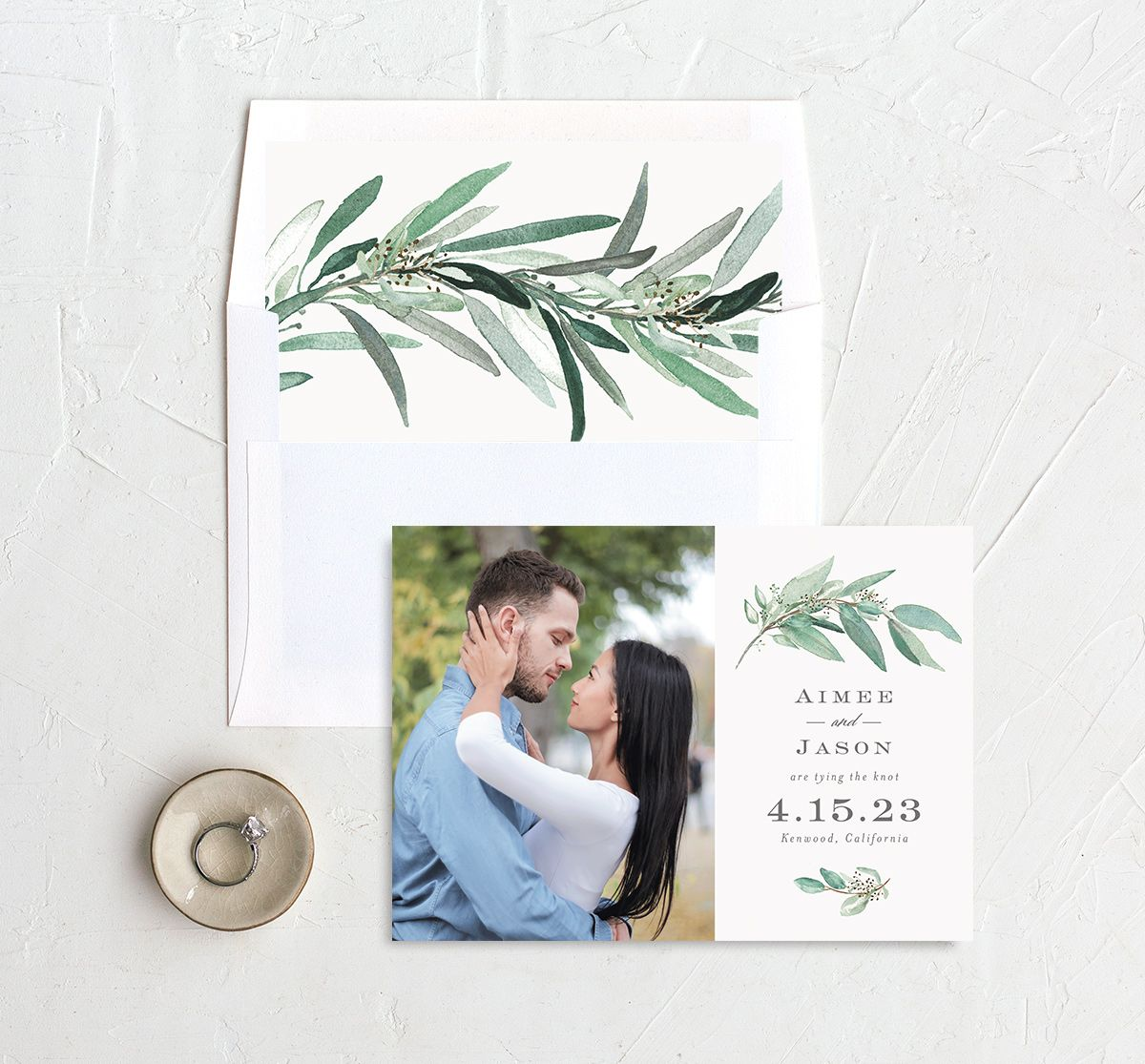Lush Greenery Wedding Save the Date Card and Envelope Liner