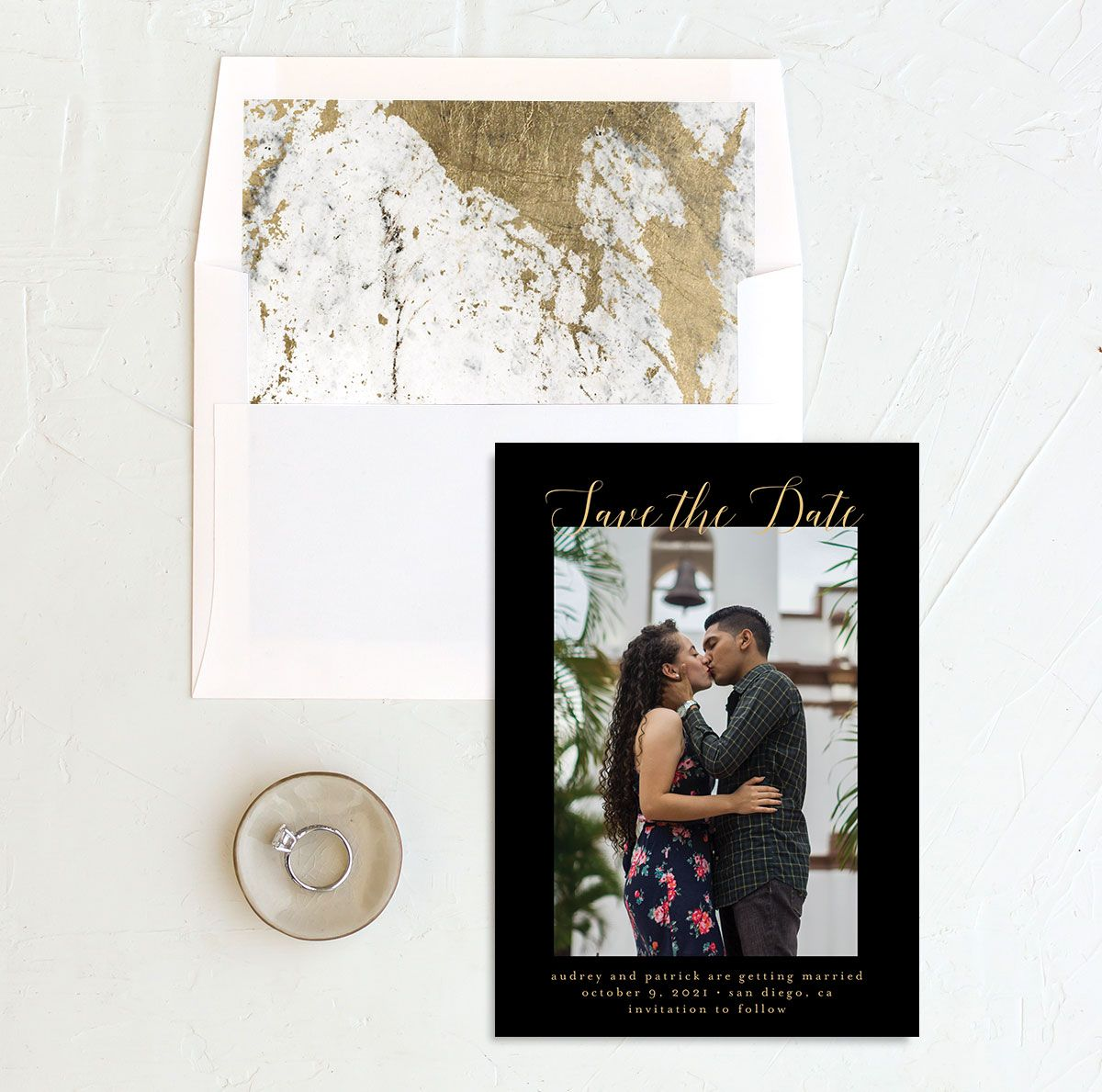 Marble and Gold Save the Date Card and Envelope Liner black
