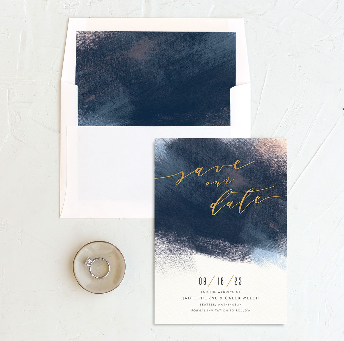 Modern Brushstroke Save the Date Card and Envelope Liner blue