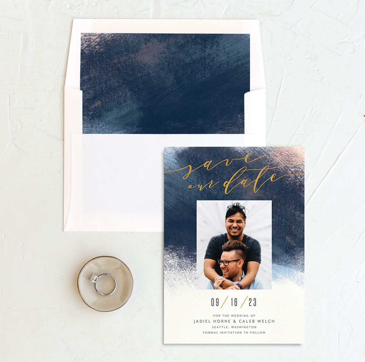 Modern Brush Save the Date Card and Envelope Liner blue