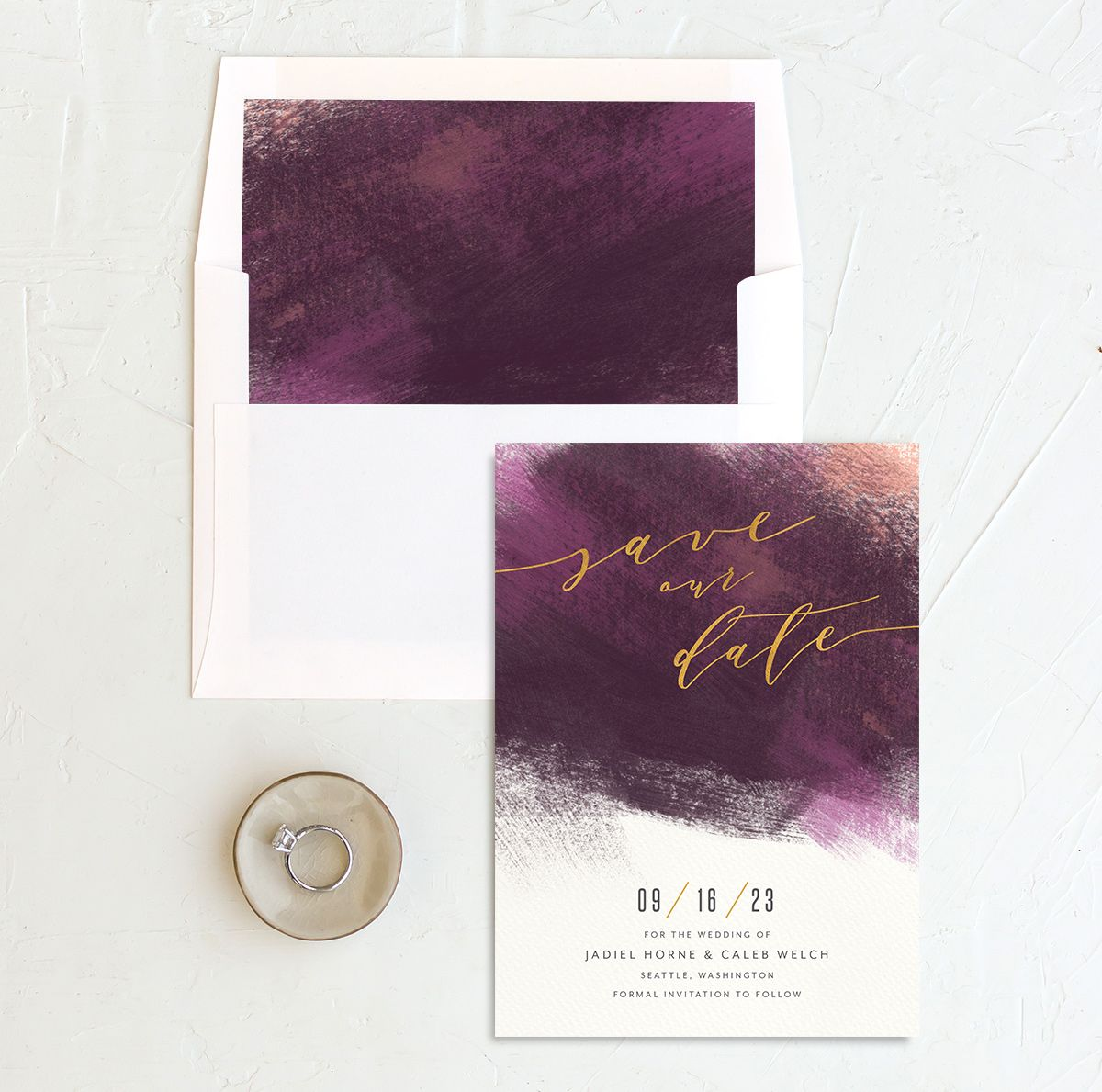Modern Brushstroke Save the Date Card and Envelope Liner purple