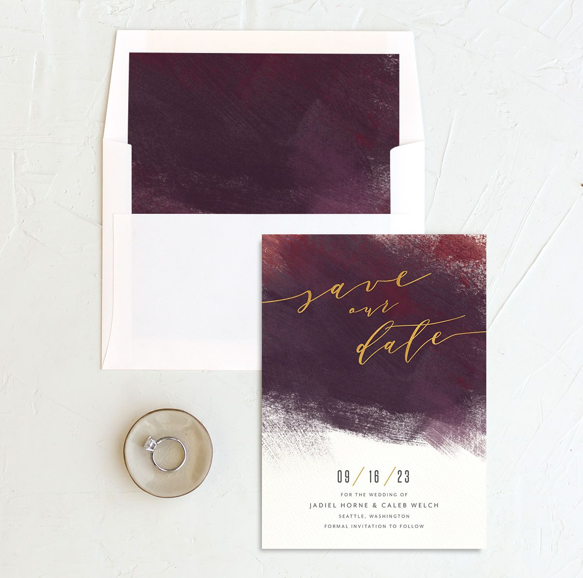 Modern Brushstroke Save the Date Card and Envelope Liner burgundy