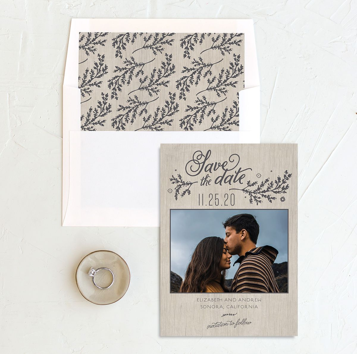 Rustic Chic Save the Date Card and Envelope Liner grey