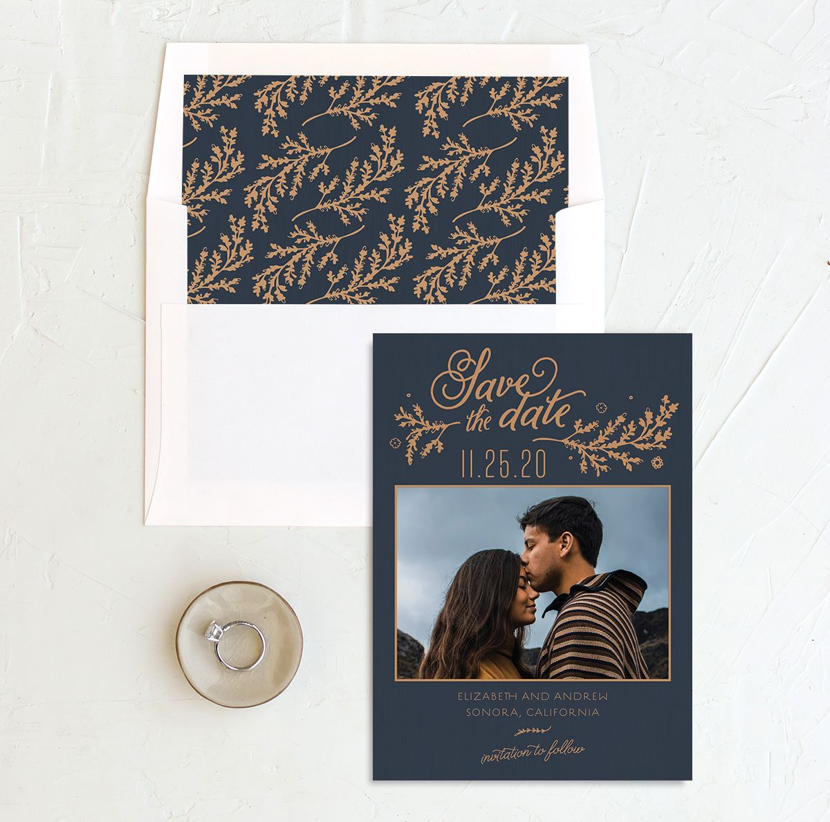 Rustic Chic Save the Date Card and Envelope Liner navy