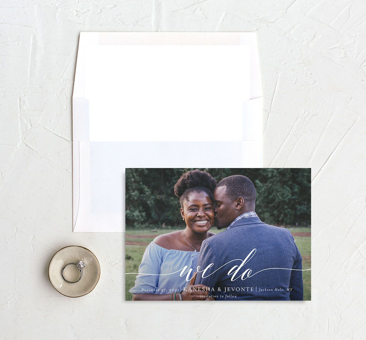 Scripted We Do Save the Date card and Envelope Liner black