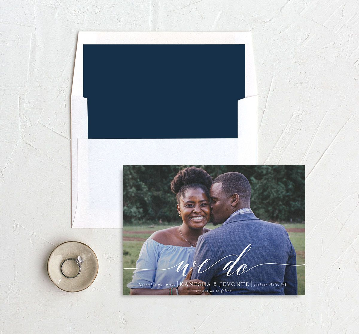 Scripted We Do Save the Date card and Envelope Liner blue