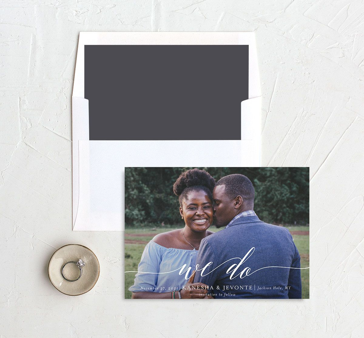 Scripted We Do Save the Date card and Envelope Liner grey