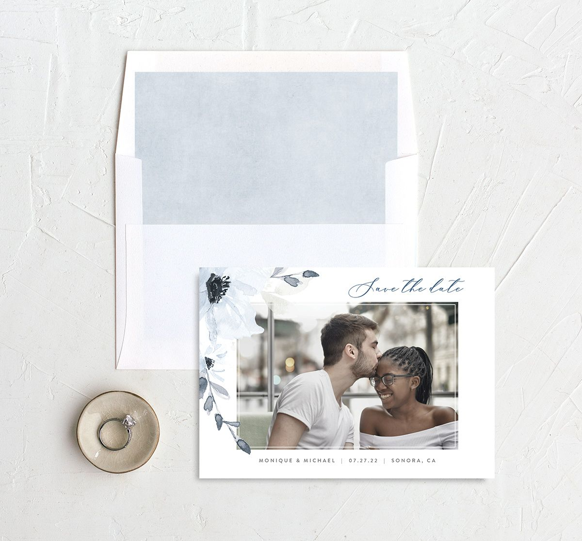 Shades of Blue Wedding Save the Date Card and Envelope Liner
