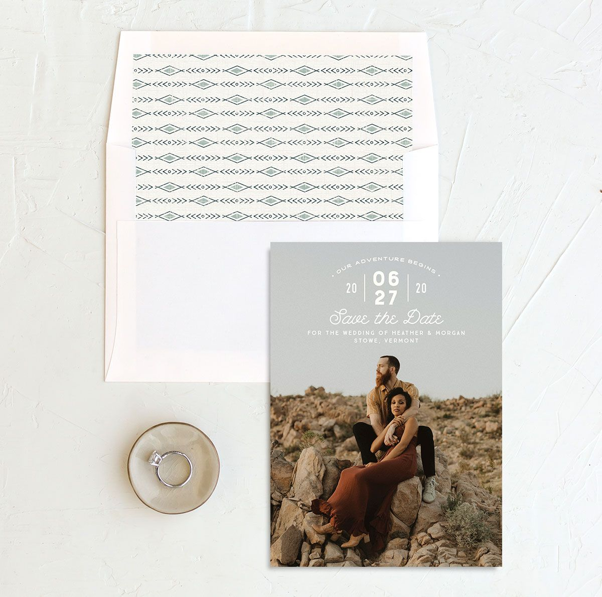 Vintage Mountain Save the Date Card and Envelope Liner