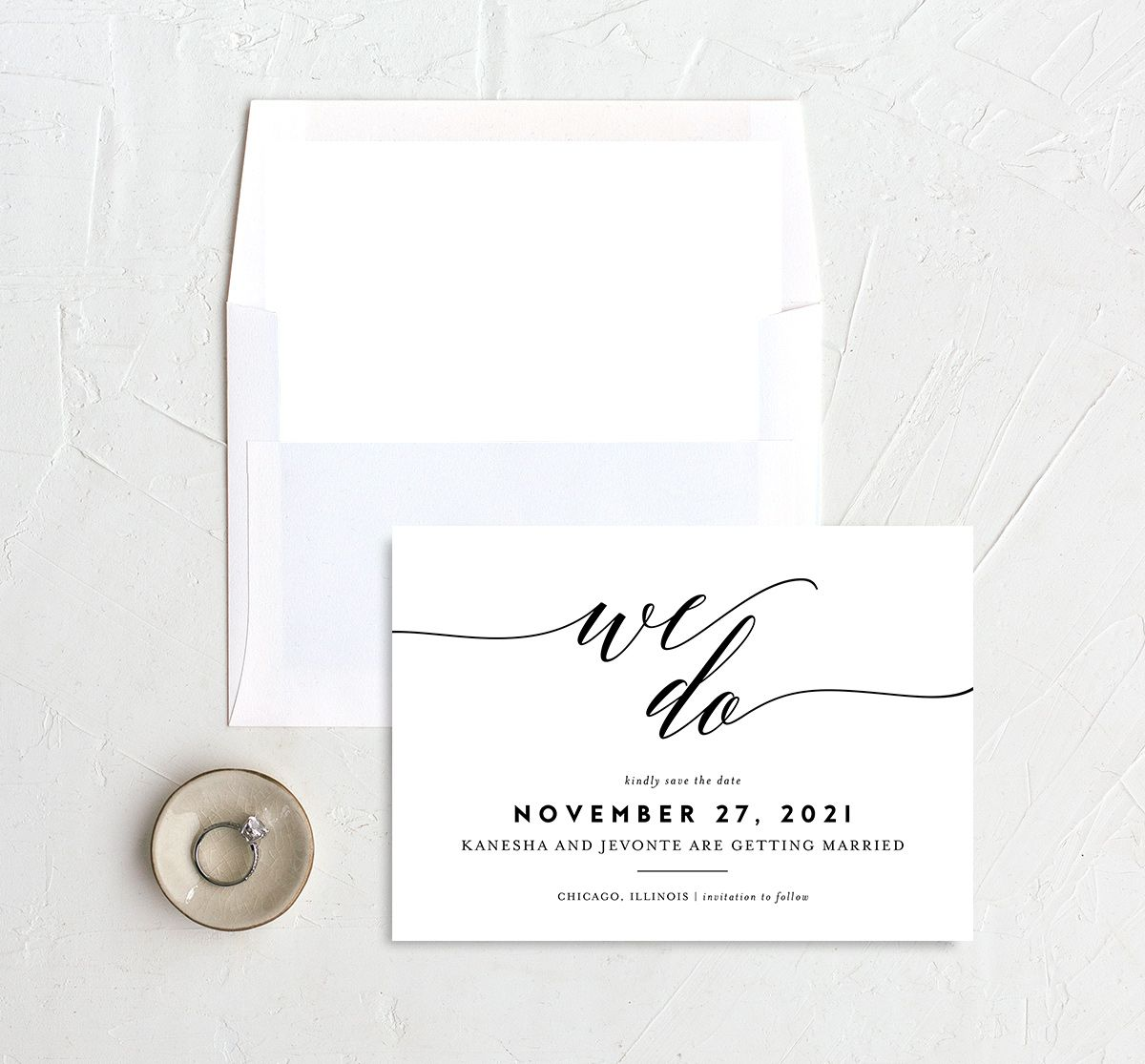 We Do Save the Date Card and Envelope Liner black