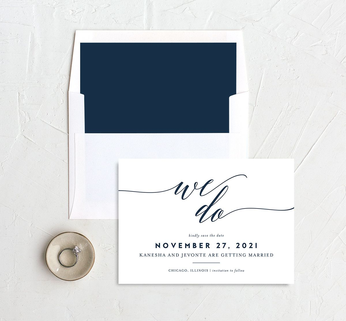 We Do Save the Date Card and Envelope Liner blue