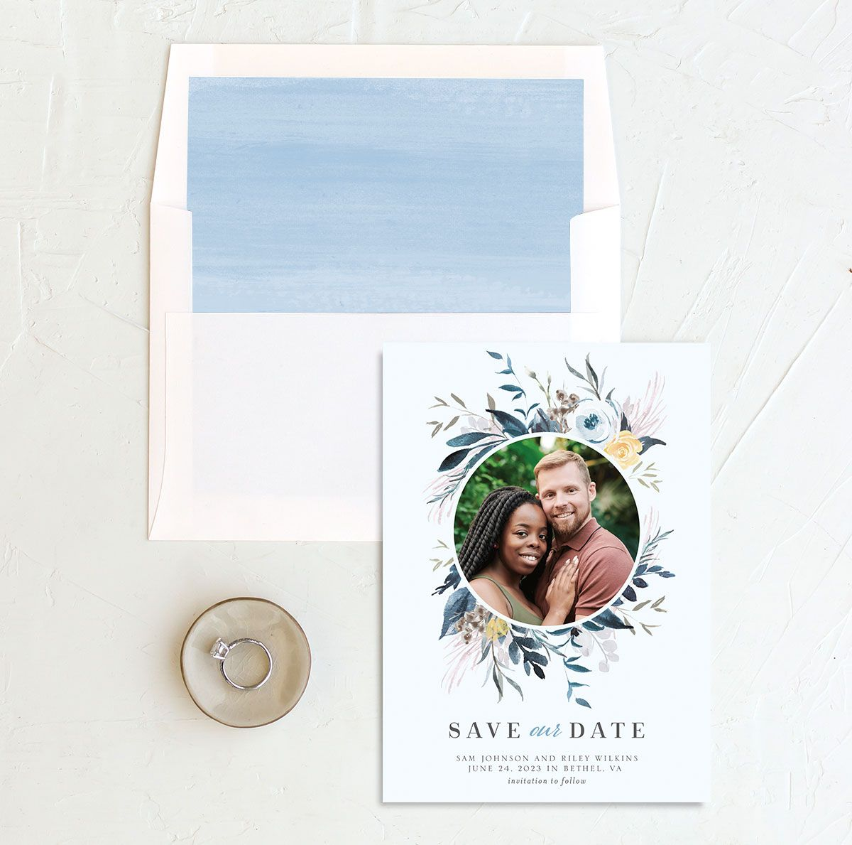 Wild Wreath Save the Date Card front and back blue