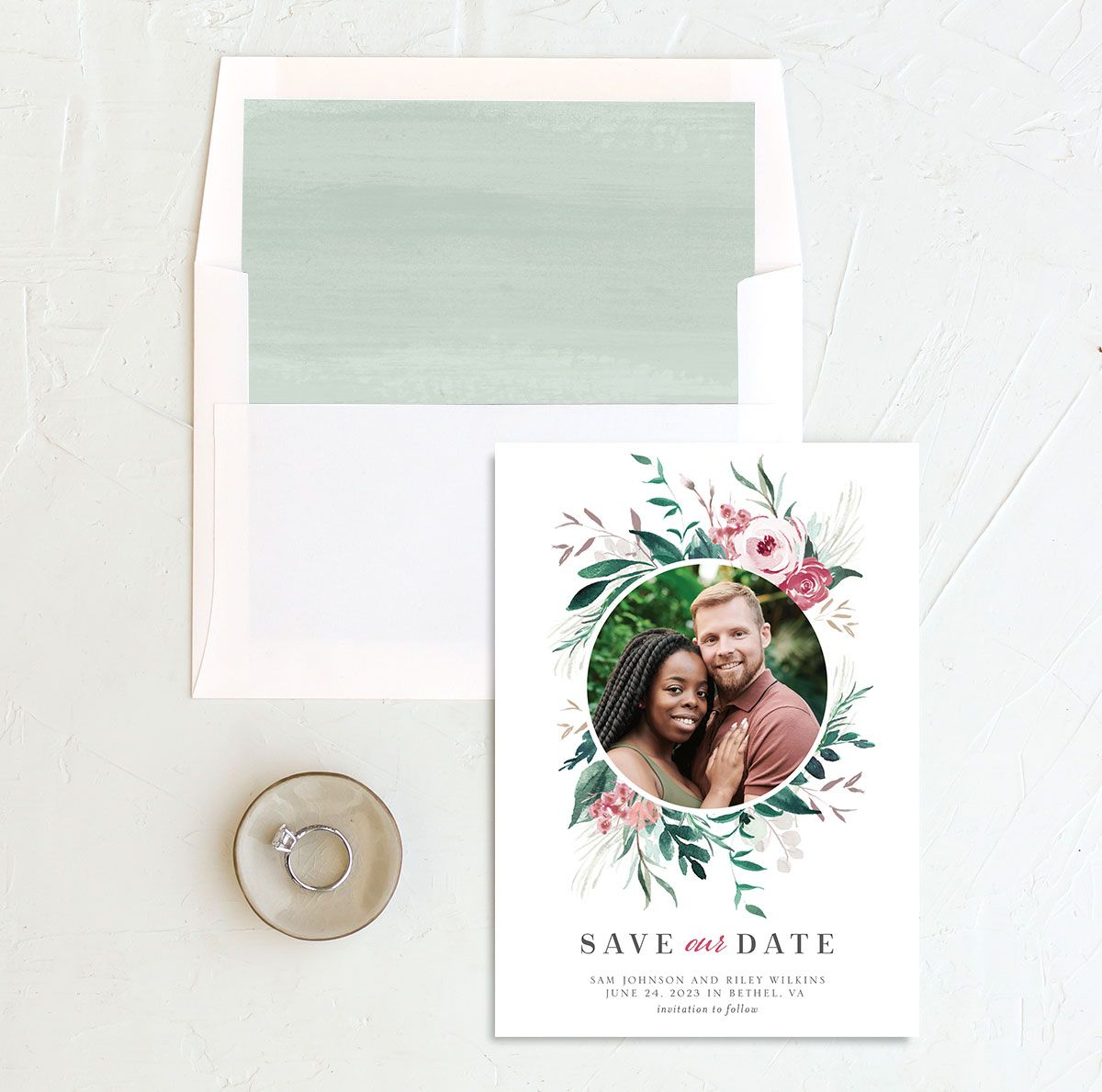 Wild Wreath Save the Date card and envelope Liner green