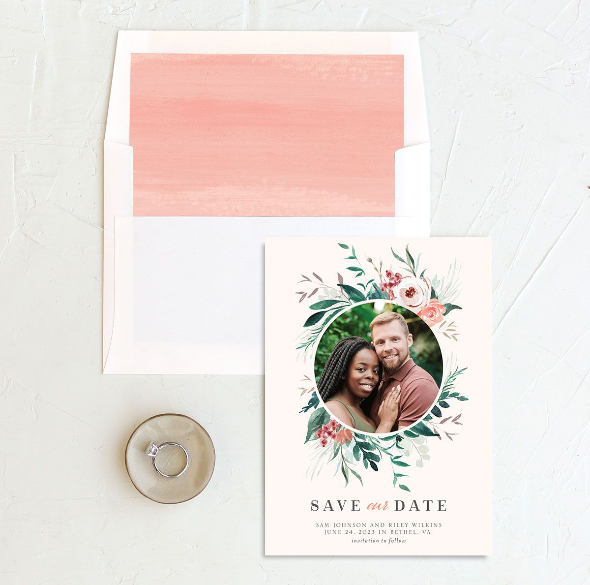 Wild Wreath Save the Date card and envelope Liner pink