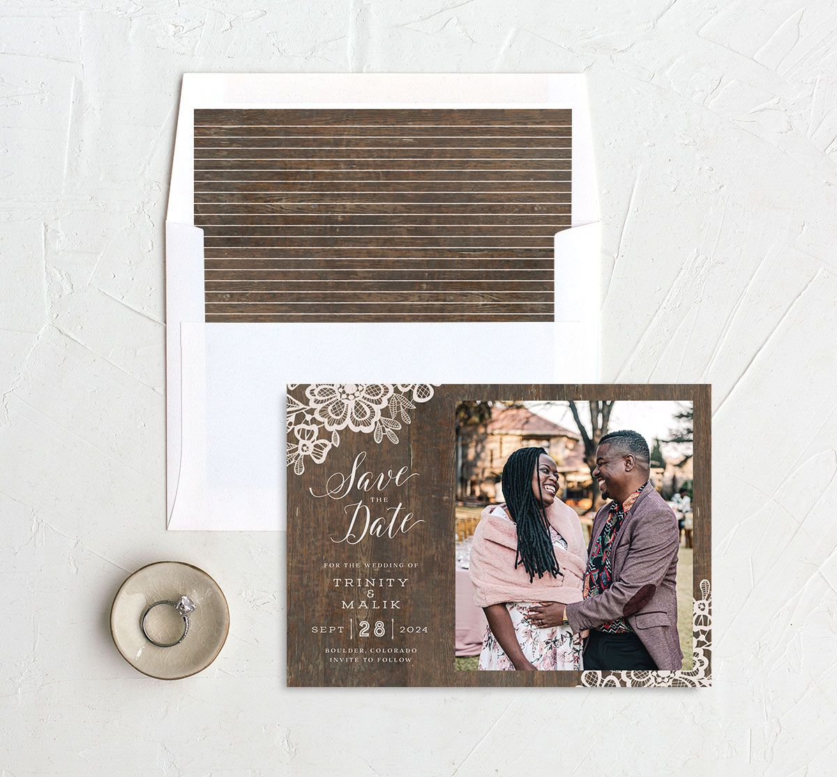 Wood and Lace Save the Date Card and Envelope Liner