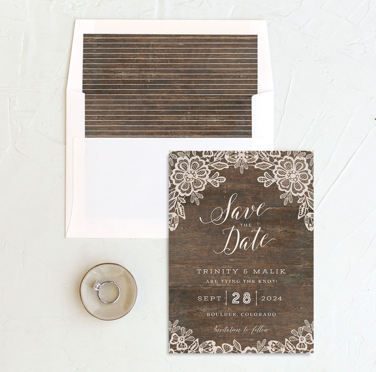 Woodgrain Lace Wedding Save the Date Card and Envelope Liner