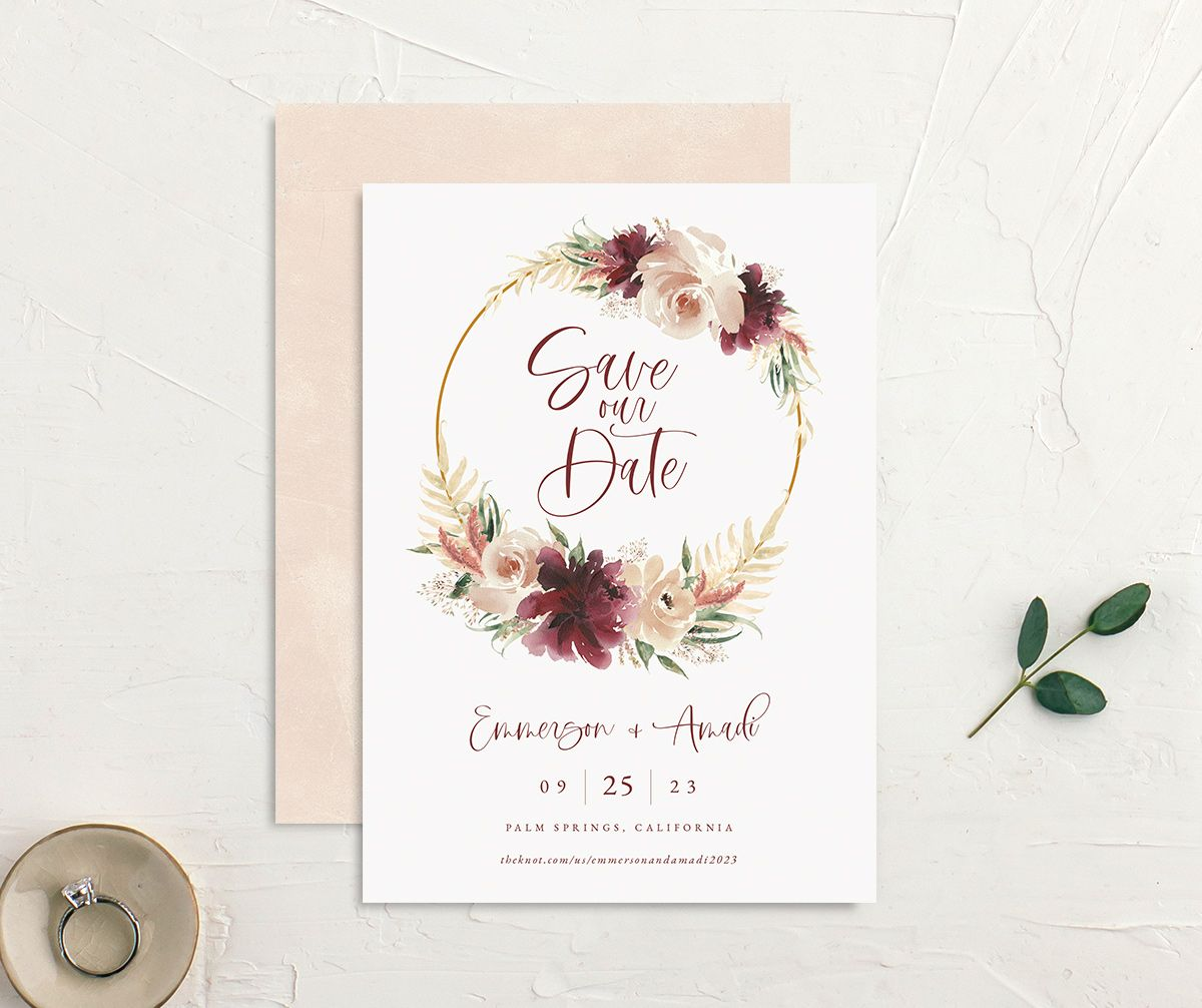 Floral Wreath save the date front and back