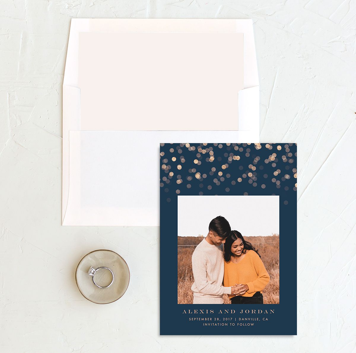 Elegant Glow Save the Date Card with DIY liner in blue