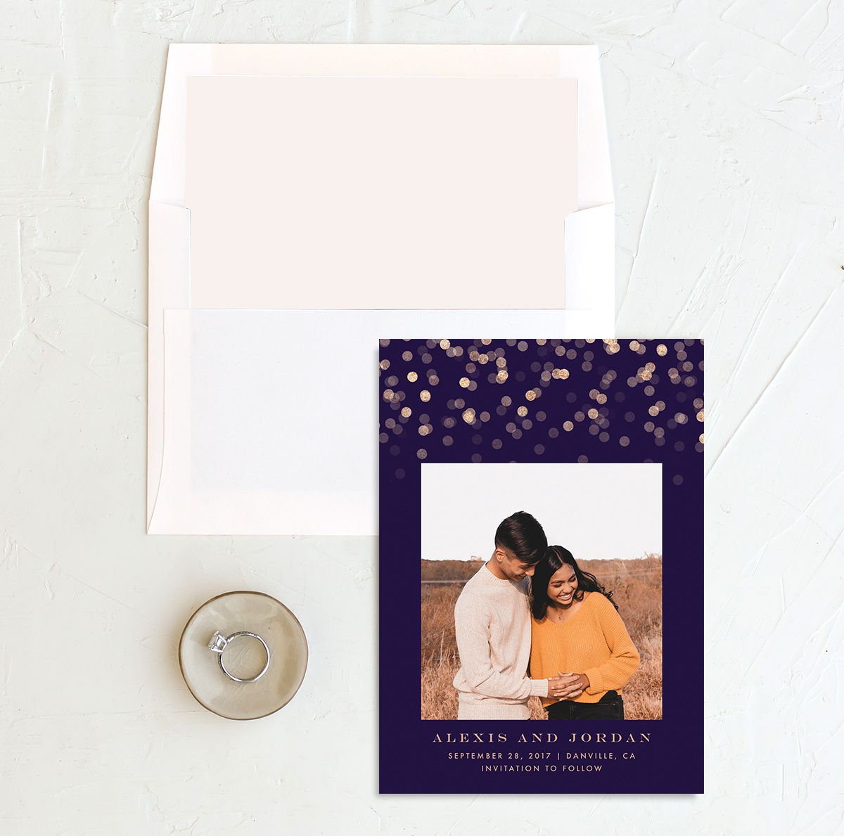 Elegant Glow Save the Date Card with DIY liner in purple