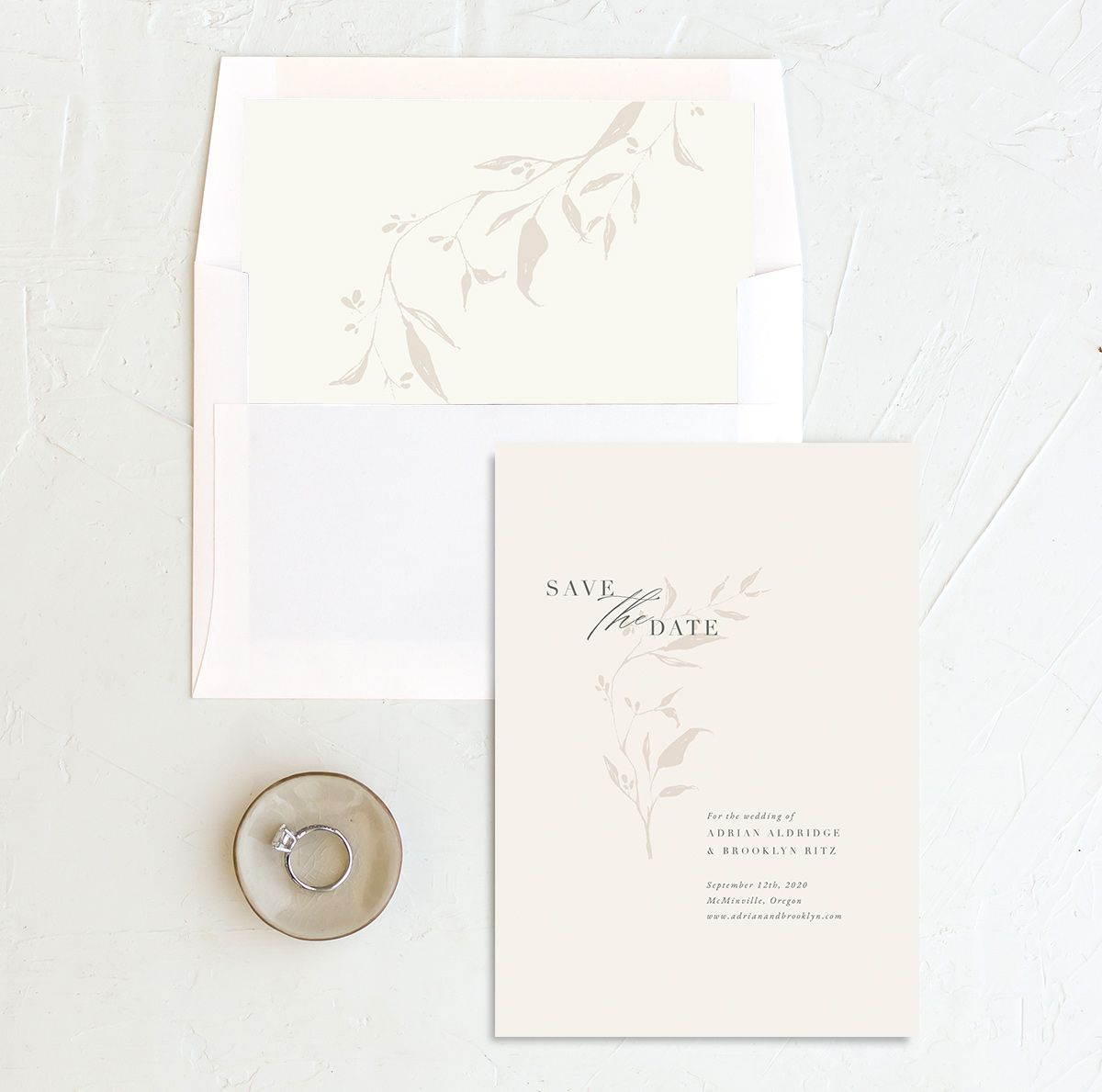Rustic Minimal Save the Date in cream