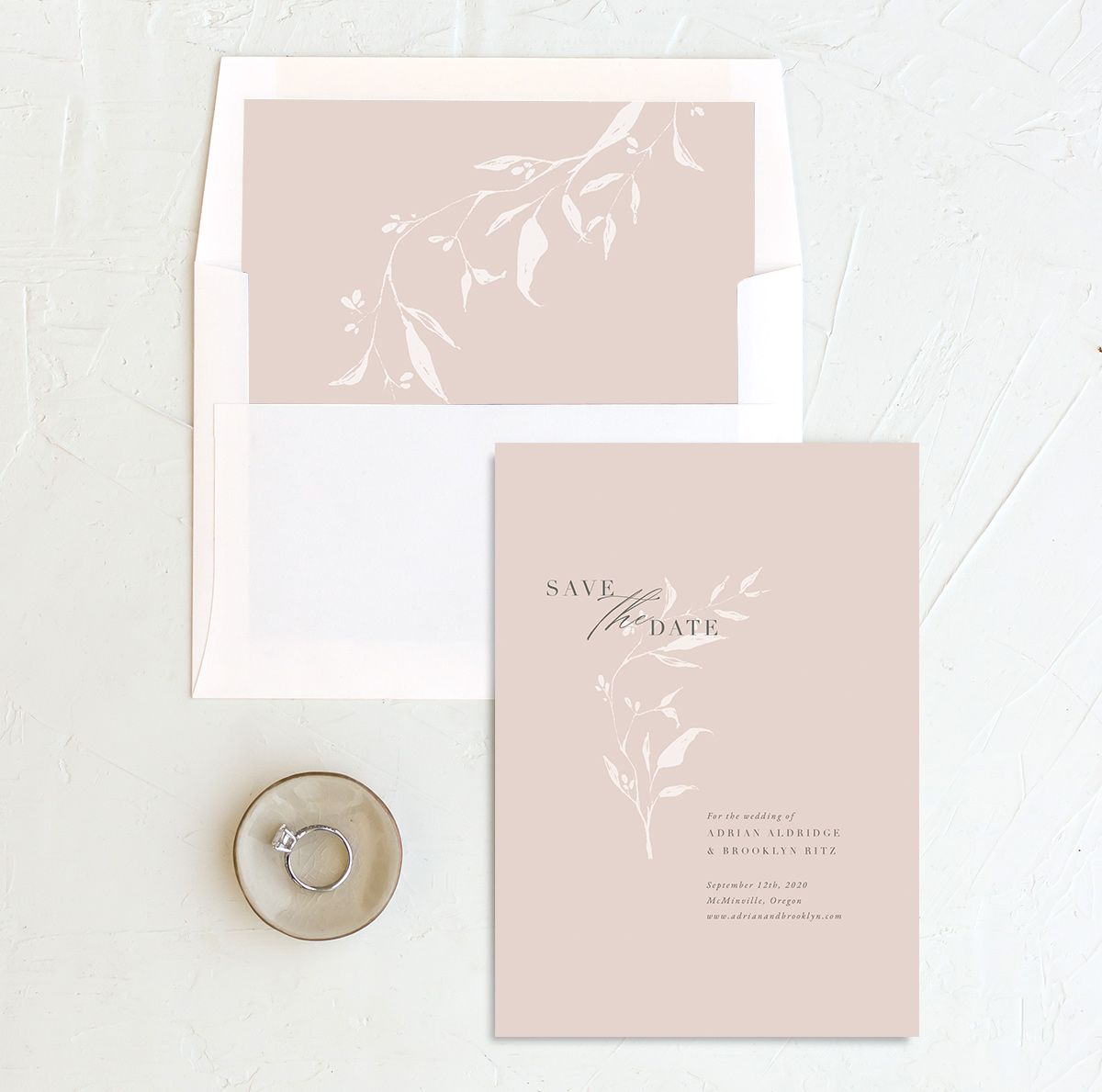 Rustic Minimal Save the Date in pink