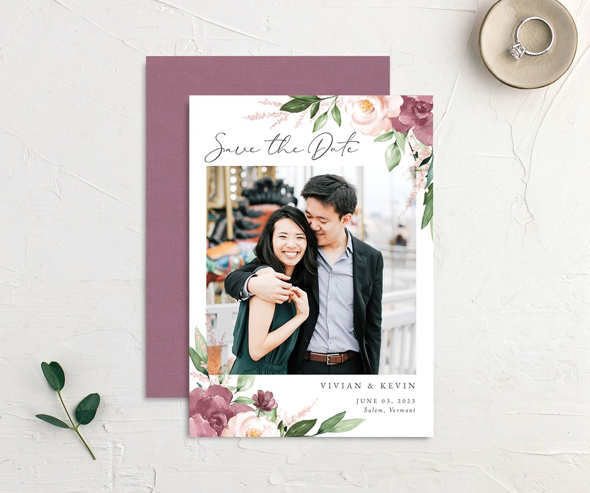 Beloved Floral Save the Date Card front & back in pink