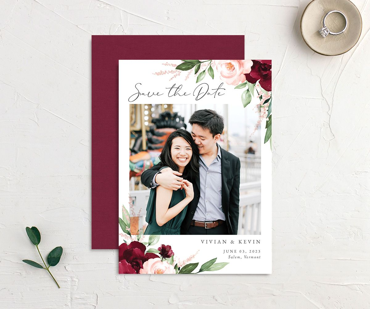 Beloved Floral Save the Date Card front & back in red