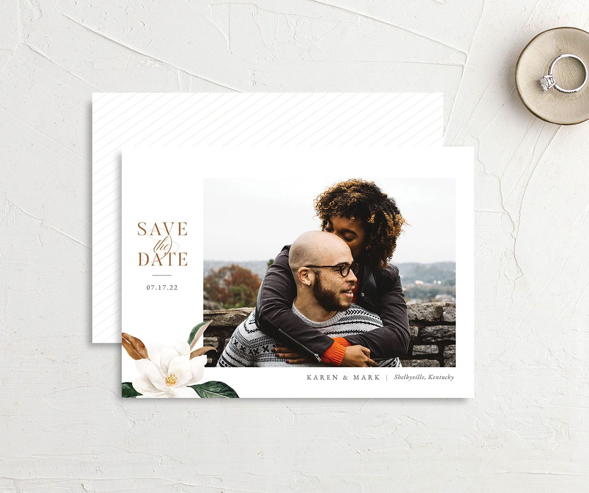 Painted Magnolia Save the Date Card front & back in all colors