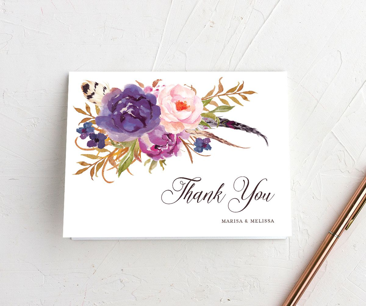 Bohemian Floral Thank You Card front purple