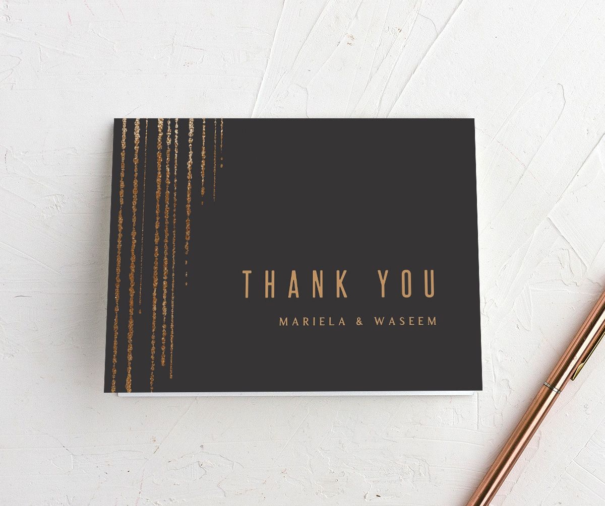 Classic Cascade Thank You Card in black