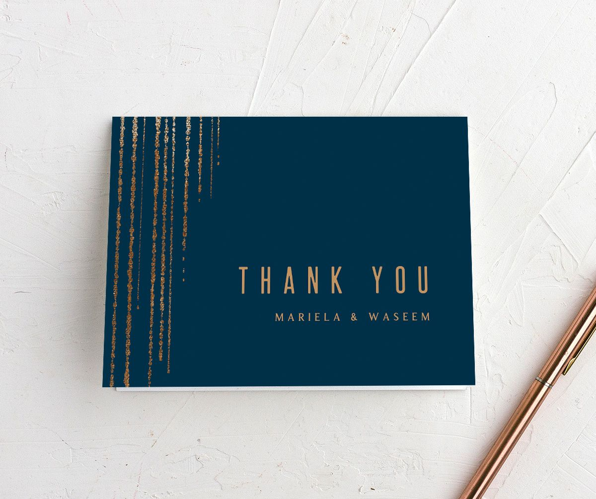 Classic Cascade Thank You Card in navy