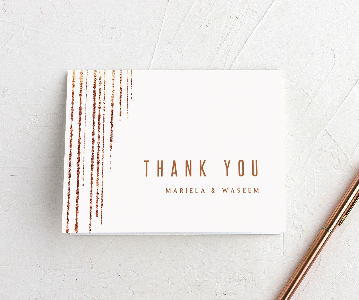 Classic Cascade Thank You Card in white