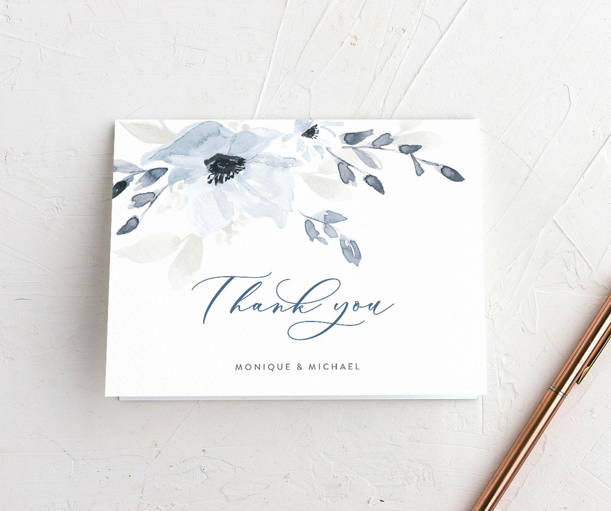 Shades of Blue Wedding Thank You card front